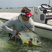 Permit fishing release on the flats